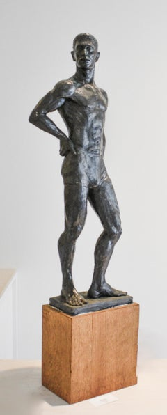Study of Caleb: Figurative Plaster Sculpture of Male Athlete by Mark Beard