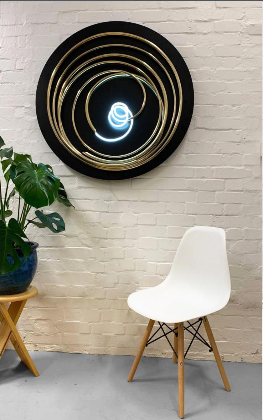 Mark Beattie - Contemporary 24ct gold plated copper, white neon on steel disk