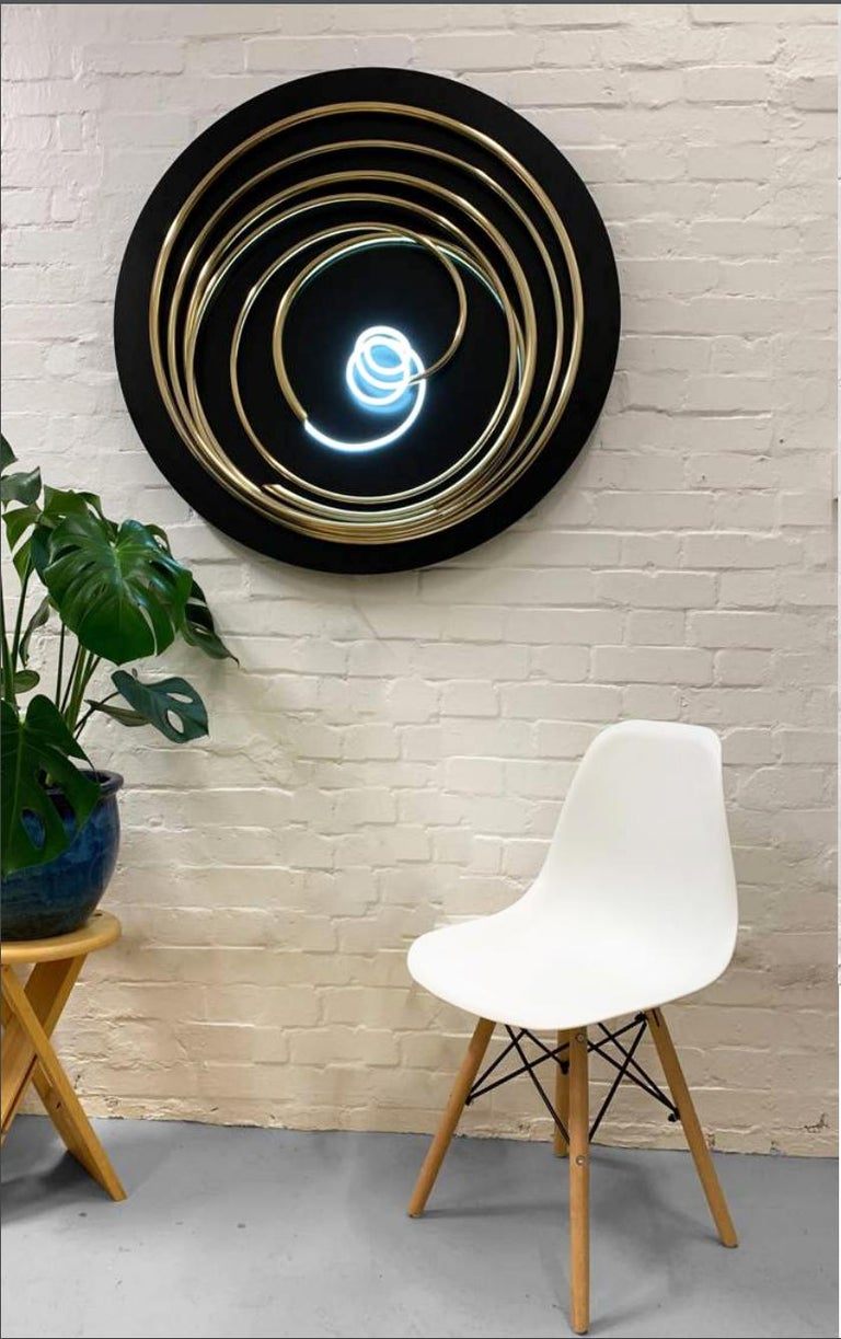 Mark Beattie - Contemporary 24ct gold plated copper, white neon on steel disk - Mixed Media Art by Mark Beattie