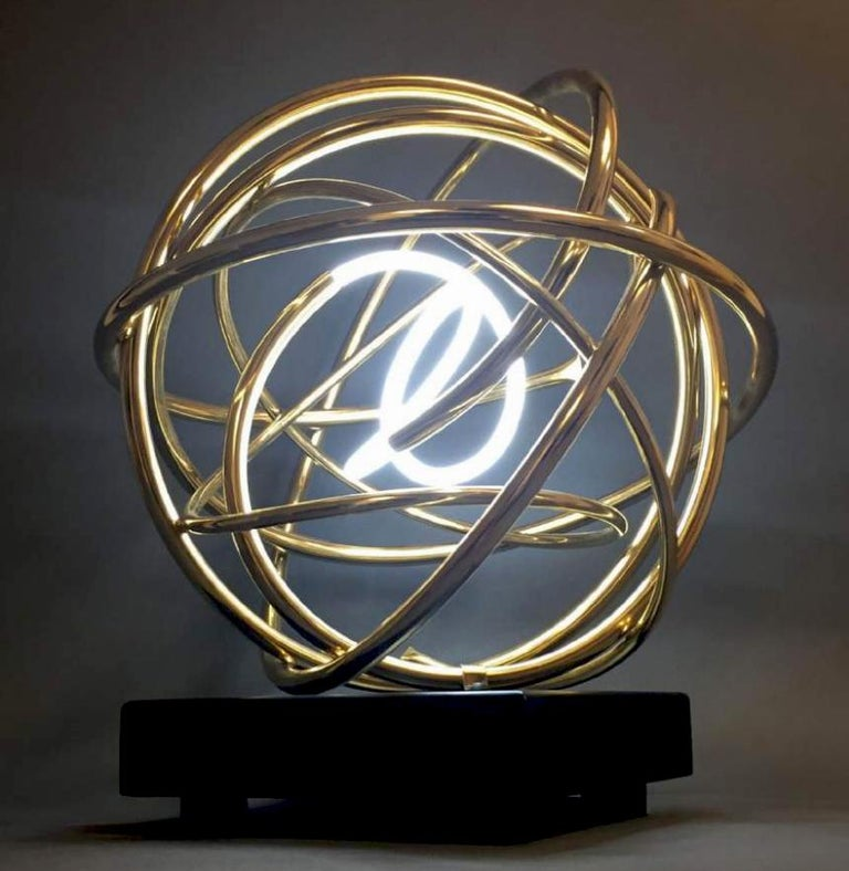 24ct Gold Plated Copper and White Neon Orb Sculpture on Painted Aluminium Plinth - Black Abstract Sculpture by Mark Beattie