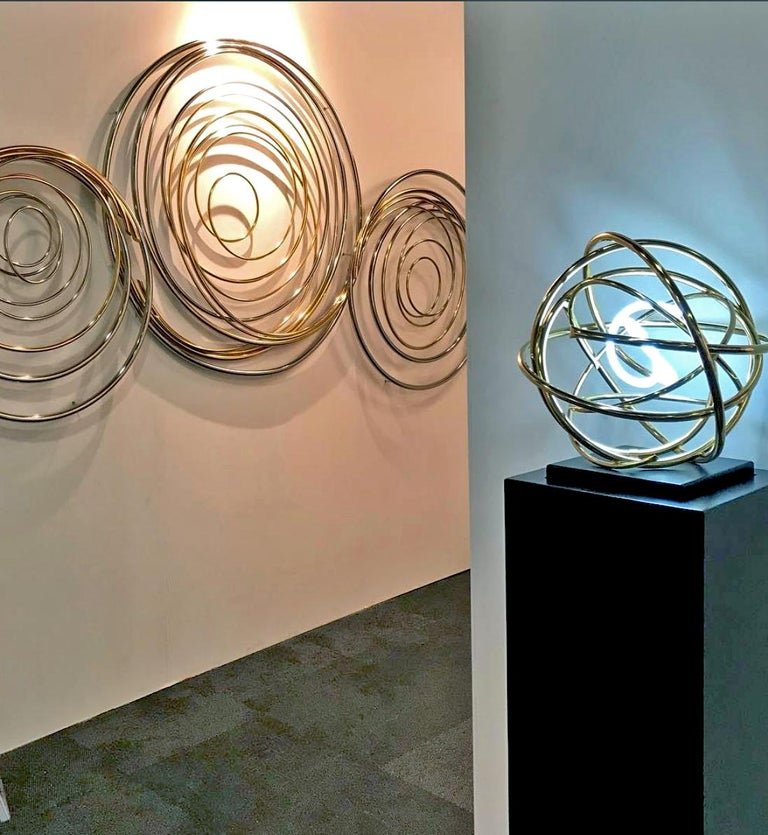 24ct Gold Plated Copper and White Neon Orb Sculpture on Painted Aluminium Plinth For Sale 1