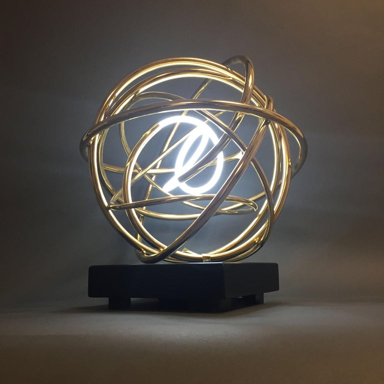 Mark Beattie Abstract Sculpture - 24ct Gold Plated Copper and White Neon Orb Sculpture on Painted Aluminium Plinth