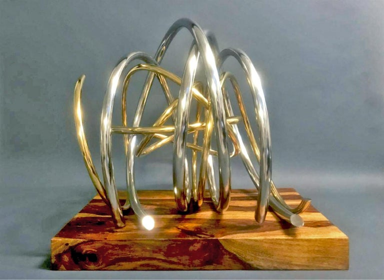 24ct Gold Plated Nickel Plated Copper Orb on 60yr old Reclaimed Acacia Wood base - Sculpture by Mark Beattie