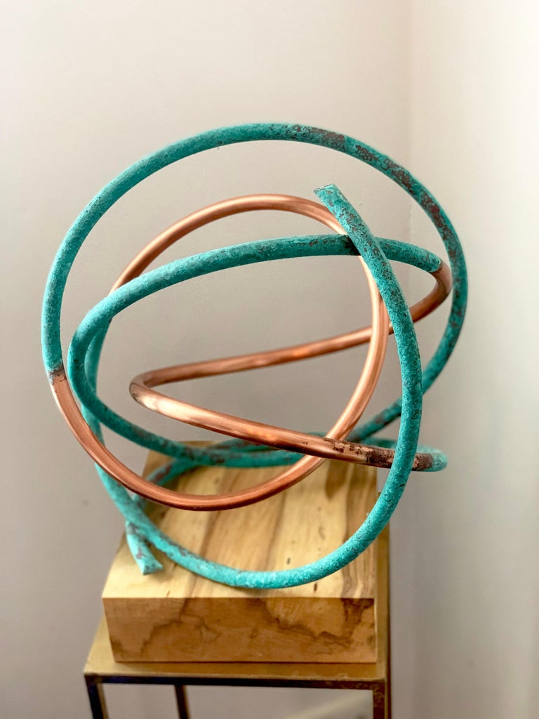 Copper in Verdigris Sculpture - Weather and polished copper on sycamore base For Sale 9