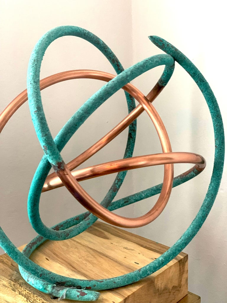 Copper in Verdigris Sculpture - Weather and polished copper on sycamore base For Sale 1