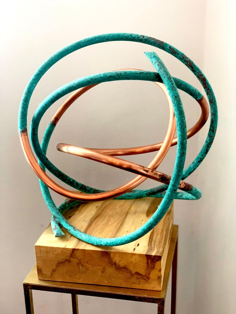 Copper in Verdigris Sculpture - Weather and polished copper on sycamore base For Sale 4
