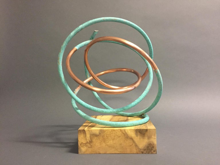 Copper in Verdigris Sculpture - Weather and polished copper on sycamore base For Sale 5