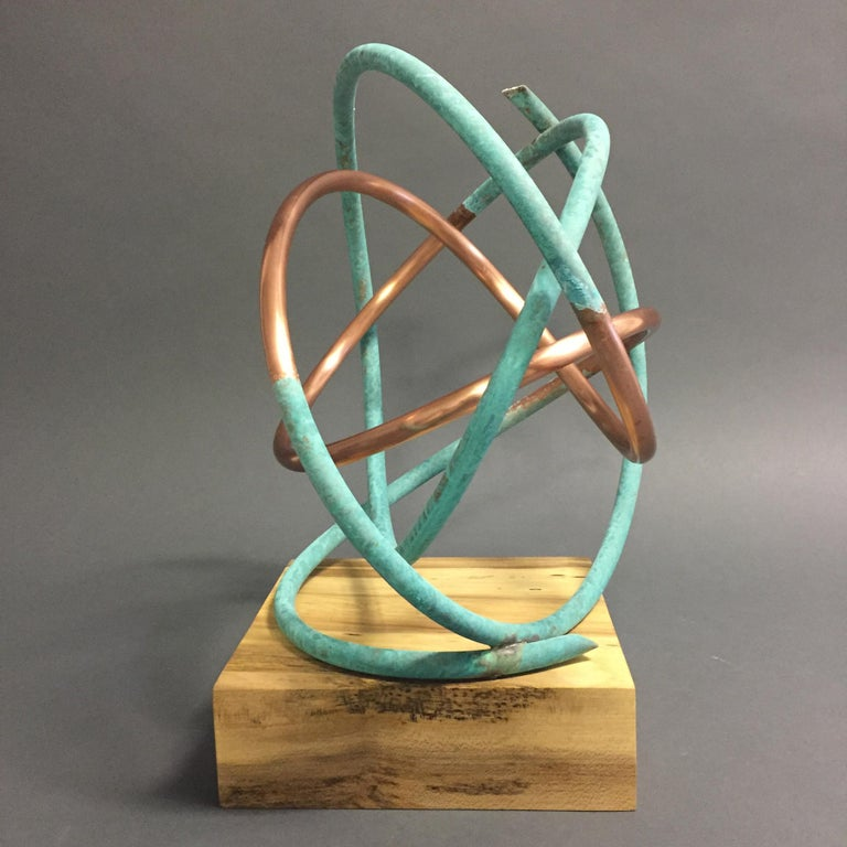 Copper in Verdigris Sculpture - Weather and polished copper on sycamore base For Sale 6