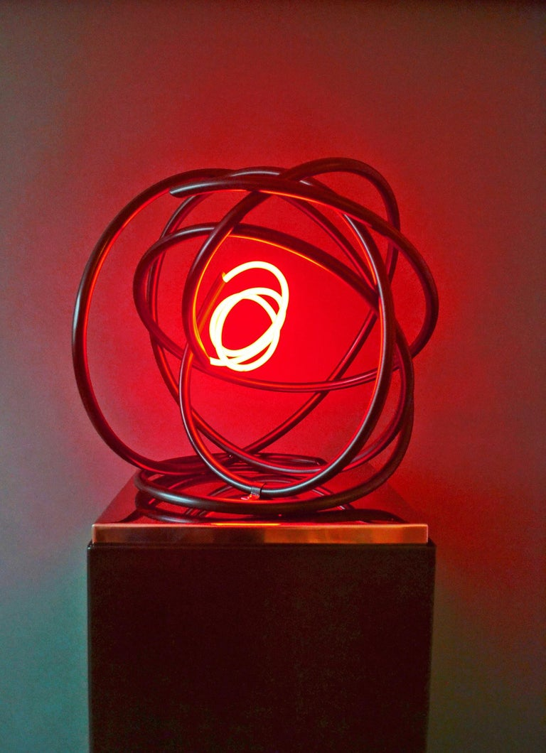 Red neon Orb sculpture, copper, mirror polished stainless steel plinth - Sculpture by Mark Beattie