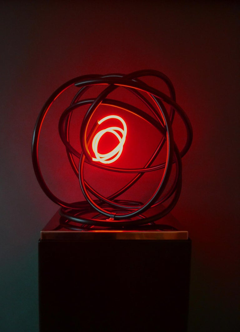 Red neon Orb sculpture, copper, mirror polished stainless steel plinth - Abstract Geometric Sculpture by Mark Beattie