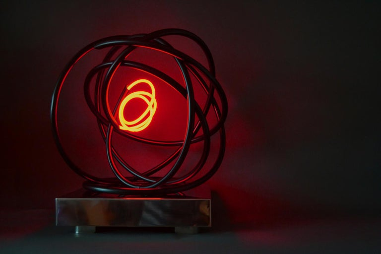 Red neon Orb sculpture, copper, mirror polished stainless steel plinth - Black Abstract Sculpture by Mark Beattie