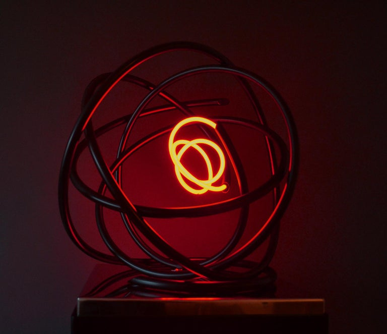 Red neon Orb sculpture, copper, mirror polished stainless steel plinth For Sale 3
