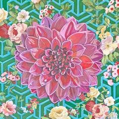 """""""Geo Green"""" - Contemporary Op-Art Pop Art Paintings - Floral - Jasper Johns"""