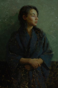 """Lynda in Blue and Green,"" Oil Painting"