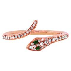 Mark Broumand 0.21ct Green Garnet and White Diamond Snake Ring in 14 Karat Gold