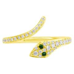 Mark Broumand 0.21ct Green Garnet and White Diamond Snake Ring in 14k Yellow