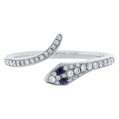 Mark Broumand 0.22 Carat Blue Sapphire and White Diamond Snake Ring in 14k White