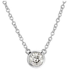 Mark Broumand 0.40 Carat Round Brilliant Cut Diamond Bezel Pendant