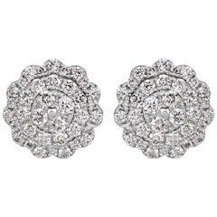 Mark Broumand 0.47 Carat Round Brilliant Cut Diamond Stud Earrings