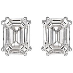 Mark Broumand 0.48 Carat Emerald Cut Diamond Stud Earrings