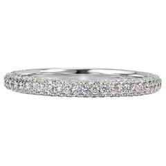 Mark Broumand 0.60 Carat Round Brilliant Cut Diamond Wedding Band in Platinum