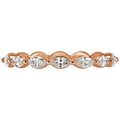 Mark Broumand 0.65ct Marquise Cut Diamond Wedding Band in 18k Rose Gold