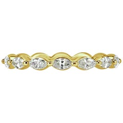 Mark Broumand 0.65ct Marquise Cut Diamond Wedding Band in 18k Yellow Gold