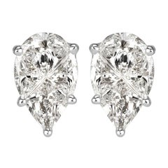 Mark Broumand 0.72 Carat Pear Shaped Diamond Stud Earrings