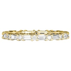 Mark Broumand 0.77ct Baguette Cut and Round Brilliant Cut Diamond Eternity Band