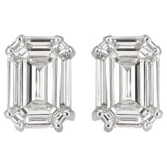 Mark Broumand 0.88 Carat Emerald Cut Diamond Stud Earrings