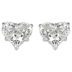 Mark Broumand 0.95 Carat Heart Shaped Diamond Stud Earrings