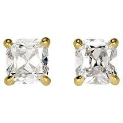 Mark Broumand 1.00 Carat Old Mine Cut Diamond Stud Earrings