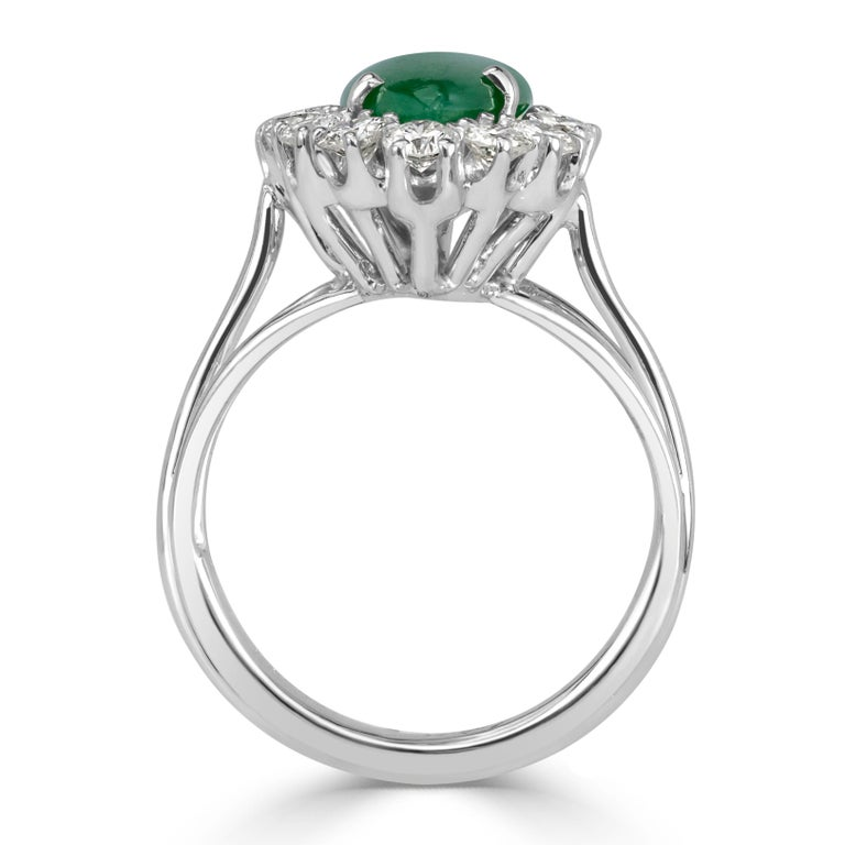 Mark Broumand 1.00 Carat Round Brilliant Cut Diamond and Jade Estate Ring In New Condition For Sale In Los Angeles, CA