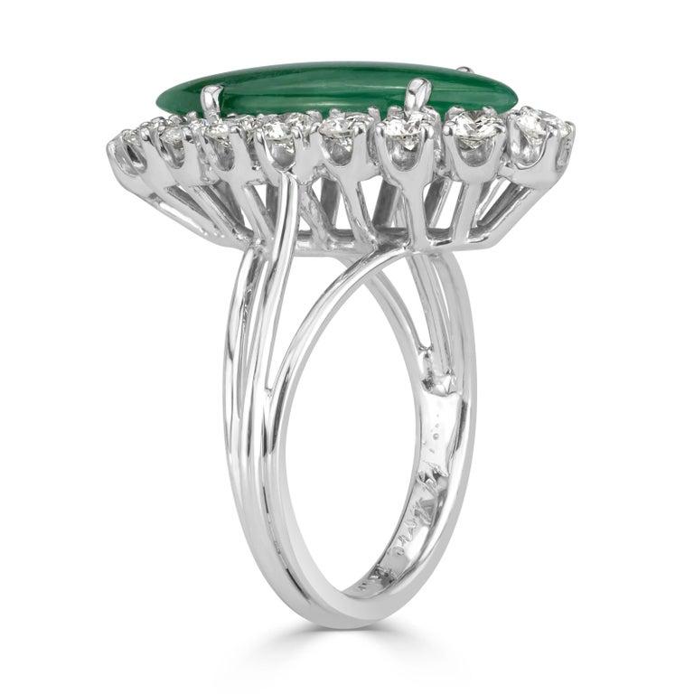 Women's or Men's Mark Broumand 1.00 Carat Round Brilliant Cut Diamond and Jade Estate Ring For Sale