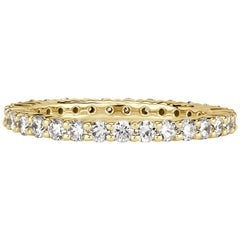 Mark Broumand 1.00 Carat Round Brilliant Cut Diamond Eternity Band in 18k Yellow