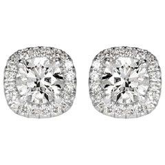 Mark Broumand 1.00 Carat Round Brilliant Cut Diamond Halo Stud Earrings