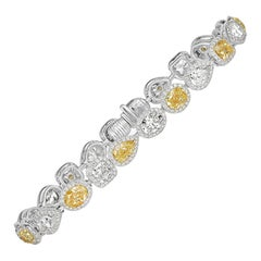 Mark Broumand 10.00 Carat Fancy Yellow and White Diamond Bracelet