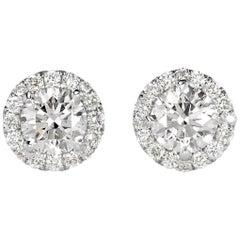 Mark Broumand 1.02 Carat Round Brilliant Cut Diamond Halo Stud Earrings