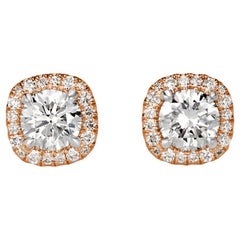 Mark Broumand 1.02 Carat Round Brilliant Cut Diamond Stud Earrings