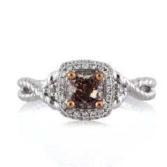 Mark Broumand 1.03 Carat Fancy Dark Brown Cushion Cut Diamond Engagement Ring