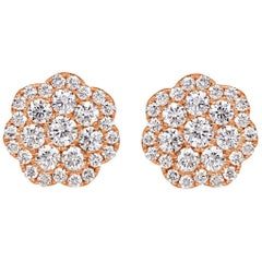 Mark Broumand 1.03 Carat Round Brilliant Cut Diamond Floral Stud Earrings