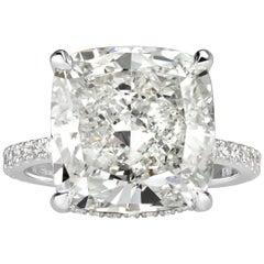 Mark Broumand 10.64 Carat Cushion Cut Diamond Engagement Ring