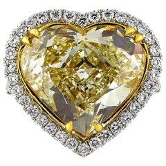 Mark Broumand 11.49 Carat Fancy Yellow Heart Shaped Diamond Engagement Ring
