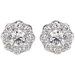 Mark Broumand 1.17 Carat Round Brilliant Cut Diamond Floral Halo Stud Earrings