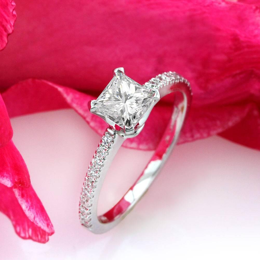 Mark Broumand 1.18 Carat Princess Cut Diamond Engagement Ring For ...