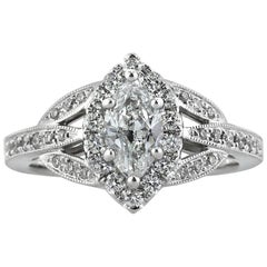 Mark Broumand 1.20 Carat Marquise Cut Diamond Engagement Ring