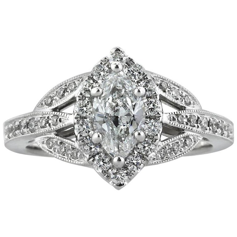 d4602c7e1 Mark Broumand 1.20 Carat Marquise Cut Diamond Engagement Ring For Sale.  Custom created in 18k white gold ...