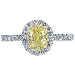Mark Broumand 1.30 Carat Fancy Yellow Oval Cut Diamond Engagement Ring