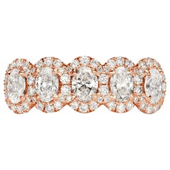 Mark Broumand 1.33 Carat Oval Cut Diamond Five-Stone Ring in 18 Karat Rose Gold