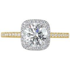 Mark Broumand 1.33 Carat Round Brilliant Cut Diamond Engagement Ring